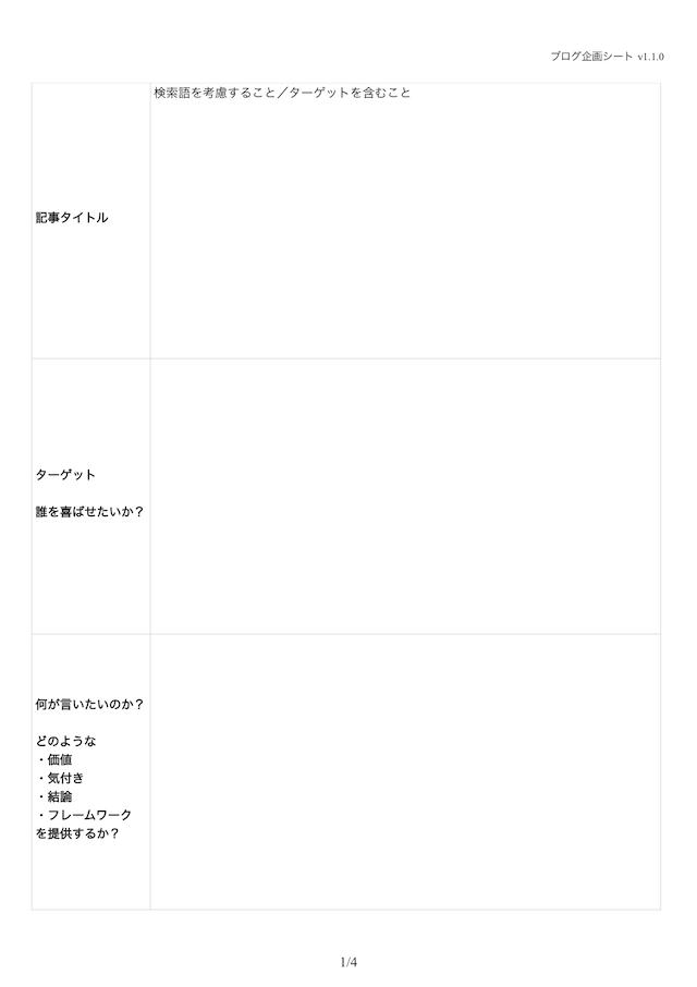 ブログ企画シート